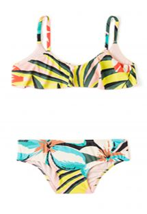 Girls' bandeau two-piece swimsuit with frills - MARGARIDA