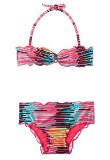 Colourful & striped children's bandeau swimsuit - PIPOCA DOCE