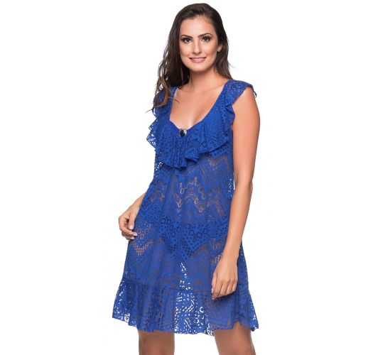 Пляжное платье синего цвета с оборками и ажурным узором - BABADO CROSSED BAIA DO SANCHO