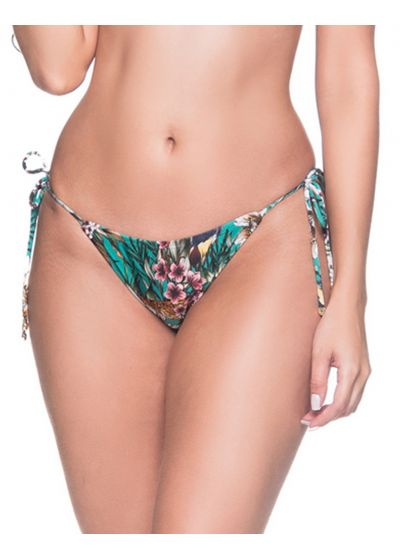 Green floral side-tie bikini bottom - BOTTOM CORTININHA TROPICAL GARDEN