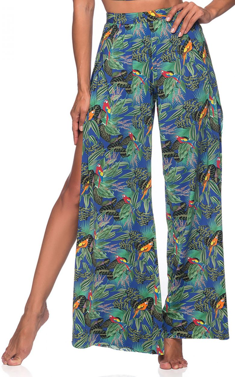 Colorful tropical split fluid pants - BOTTOM CROPPED CRUZADO ARARA AZUL