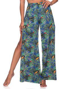 Fargrik tropiskmønstret ledig bukse med splitt - BOTTOM CROPPED CRUZADO ARARA AZUL