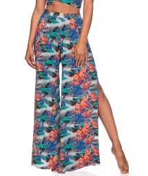 Slit beach trousers in tropical print - BOTTOM CROPPED CRUZADO NORONHA FLORAL