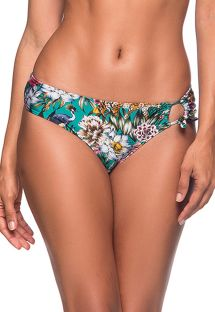 Green floral side-knotted bikini bottom - BOTTOM TQC TRANSPASSADO TROPICAL GARDEN