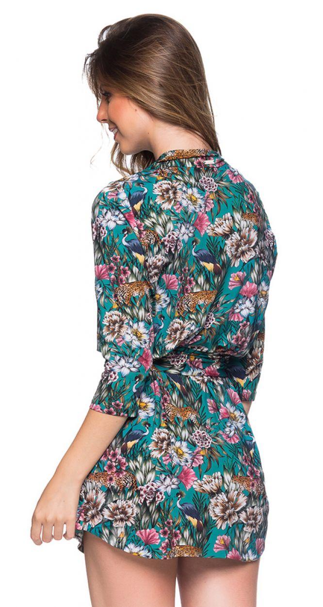 Shirt beach dress with 3/4 sleeves - green floral print - CHEMISE FAIXA TROPICAL GARDEN
