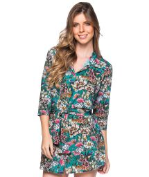 Shirt beach dress with 3/4 sleeves - green floral print - CHEMISE FAIXA TROPICAL GARDEN