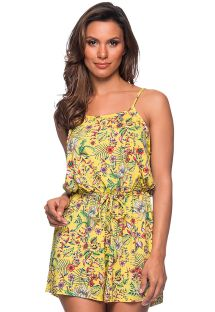 Beach romper in yellow floral print - MACAQUINHO DREAM AMARELA