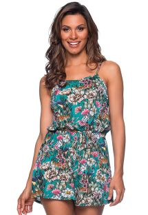 Beach romper in green floral print - MACAQUINHO TROPICAL GARDEN