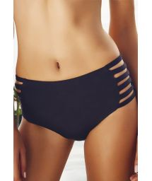 Black strappy high-rise bikini bottoms - CALCINHA ILHAS CAIMAO