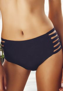 Black strappy high-rise bikini bottoms - CALCINHA ILHAS CAIMAO