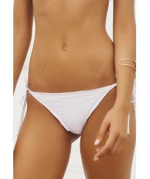 White scrunch bikini bottom with ruffle trim - CALCINHA SOPHIA WHITE