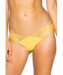 Strappy yellow textured thong bikini bottom - BOTTOM RUCHED BANANA COSTA DEL SOL