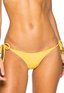 Slip brasiliano scrunch giallo con lacci laterali - BOTTOM SEAMLESS BANANA COSTA DEL SOL