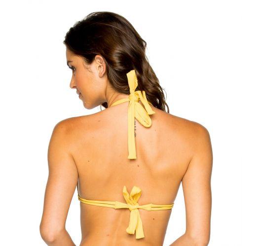 Sliding triangle yellow bikini halter top - TOP LACE BANANA COSTA DEL SOL