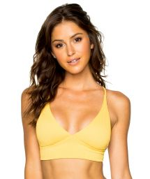 Yellow crop top with laced back - TOP RUCHED BANANA COSTA DEL SOL