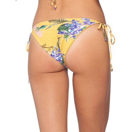 Gelbgrundig geblümte Scrunch-Bikinihose - BOTTOM MUSTARD FIELD DOLLY CRISS CROSS