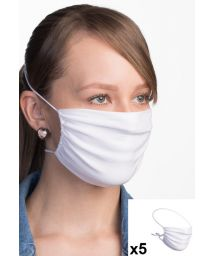 Set of  5 white reusable barrier mask 3 layers - 5 x FACE MASK BBS12 3 LAYERS
