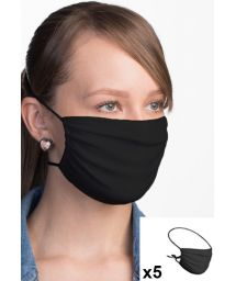 Set of 5 black reusable barrier masks - 5 x FACE MASK BBS02 2 LAYERS