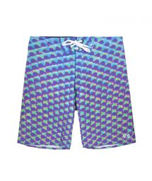 Bermuda swimming shorts in a mauve, blue and green graphic print - MAXI EYES