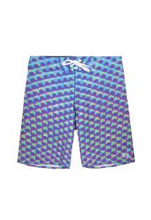Bermuda kopalne hlače z grafičnim potiskom v svetlo vijoličnih, modrih in zelenih odtenkih - MAXI EYES
