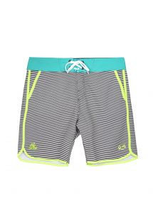 Black and white striped Bermuda shorts, sky blue belt - MID MACAW