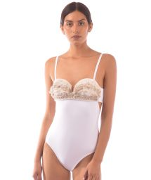 White bustier one-piece swimsuit with lace - MAIO JUNGLA NATURAL