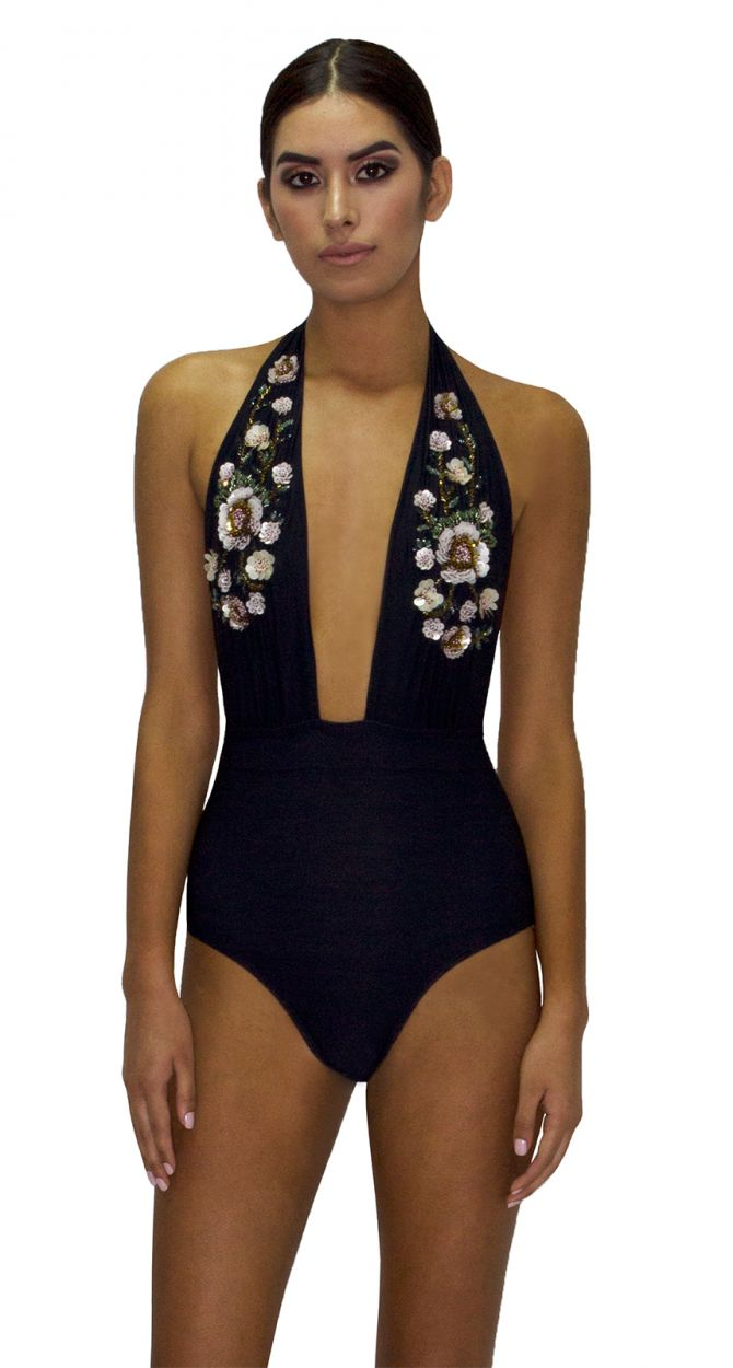 Black plunge one-piece swimsuit with sequined flowers - MAIO ROSA PASTEL