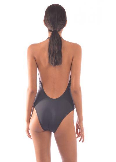 Black plunge one-piece swimsuit - MAIO SILUETAS NEGRAS