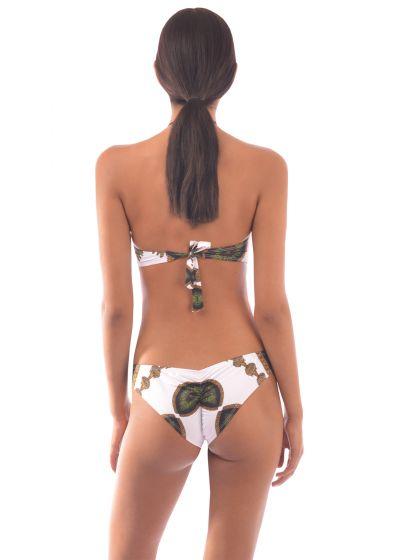 Brazilian trikini with scrunch bottom in ethnic print - MAIO TRIBAL WHITE
