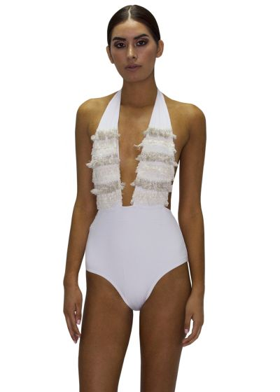 White plunge one-piece swimsuit with lace - PLUNGE JUNGLA NATURAL