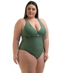 Plus size military green one-piece swimsuit with straps - SWIMSUIT BETYNA AGAVE
