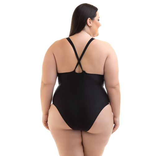 Plus size black one-piece swimsuit with straps - SWIMSUIT BETYNA PRETO