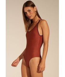Luxury brown one-piece swimsuit with black contours - MAIO CAMISETA AFRICA COLORS