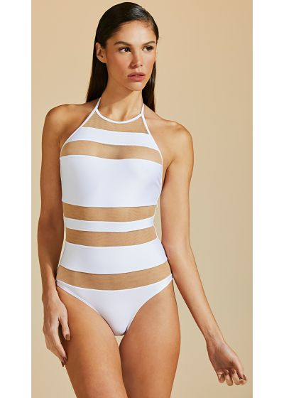 White one-piece swimsuit with transparent bands - MAIO LISTRA TULE