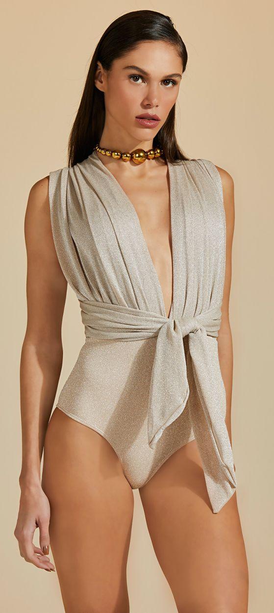 Luxurious nude plunging one-piece swimsuit with silver lurex - MAIO LUZ-PELE COM LUREX