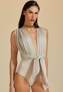 Luxus-Badeanzug in Nude mit silbernem Lurex - MAIO LUZ-PELE COM LUREX