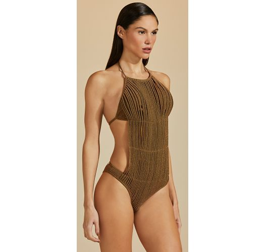 Luxurious brown leather color swimsuit with lurex - MAIO LUZ-VERDE MUSGO