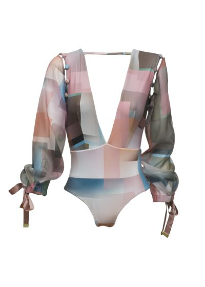 Luxurious graphic 1 piece swimsuit with removable sleeves - MAIO TRANSLUCIDO