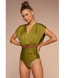 Luxurious green 2-in-1 one-piece swimsuit with crocodile skin effect - POSSIBILIDADES PISTACHE TEMPEROS
