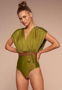 Lussuoso costume da bagno intero verde 2 in 1 con effetto pelle di coccodrillo - POSSIBILIDADES PISTACHE TEMPEROS