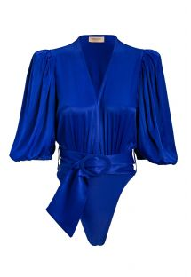 Luxurious royal blue one-piece swimsuit with a belt - MAJORELLE BLUE HIGH-LEG