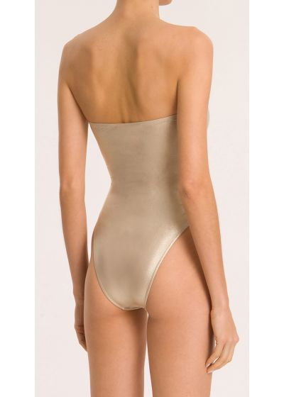 METALLIC STRAPLESS HIGH-LEG SWIMSUIT WITH DOUBLE KNOT