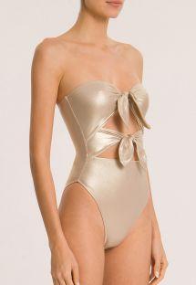 Fato de banho dourado metalizado c/ nós, luxo - METALLIC STRAPLESS HIGH-LEG SWIMSUIT WITH DOUBLE KNOT