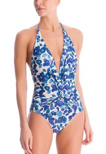 Luxurious floral blue plunging one-piece swimsuit - TURQUOISE FLOWER HALTERNECK SWIMSUIT