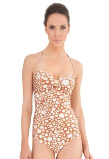 Beige smudge print one-piece bandeau swimsuit - MAIO FISH NUDE