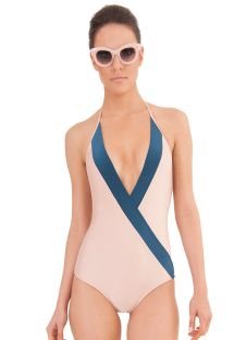 A 1 piece luxury bicoloured swimsuit with a large neckline - NIMA