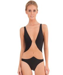 A 1 piece luxury black swimsuit made from two materials - TULE BLACK
