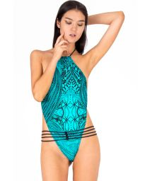 Turquoise trikini with multi waistband and black tie strings - ALMA AFRICANA