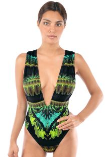 Luxurious tropical swimsuit deep V neckline - SELVA NEGRA V