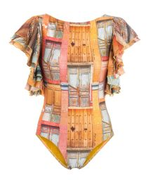 One-piece sleeved swimsuit with frills and beads - COLOMBIANA BORDADO